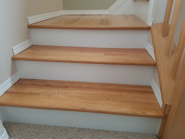 Natural Oak Wood With White Painted Risers and Stringers