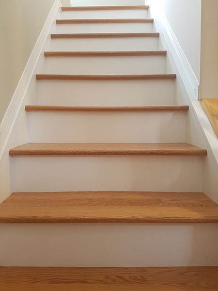 Red Oak Treads With White Painted Risers and Stringers