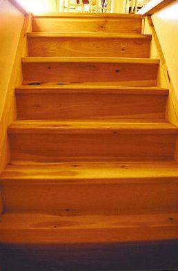 The treads and risers are also made of rustic hickory.